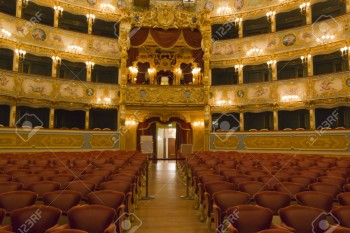 """Venice, Italy June 5, 2014: Interior of La Fenice Theatre. Teatro La Fenice, """"The Phoenix"""", is an opera house, one of the most famous and renowned landmarks in the history of Italian theatre"""